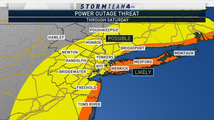 Saturday's #noreaster could lead to power outages across the tri-state. Updated hour-by-hour timing of the strong winds and heavy rain on  at 11pm.  #NBC4NY
