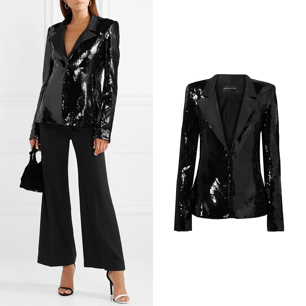 Coated in shimmering black sequins, @BrandonMaxwell's sequin blazer is giving us that #FridayFeeling ✨ net-a.pt/ZoMix6