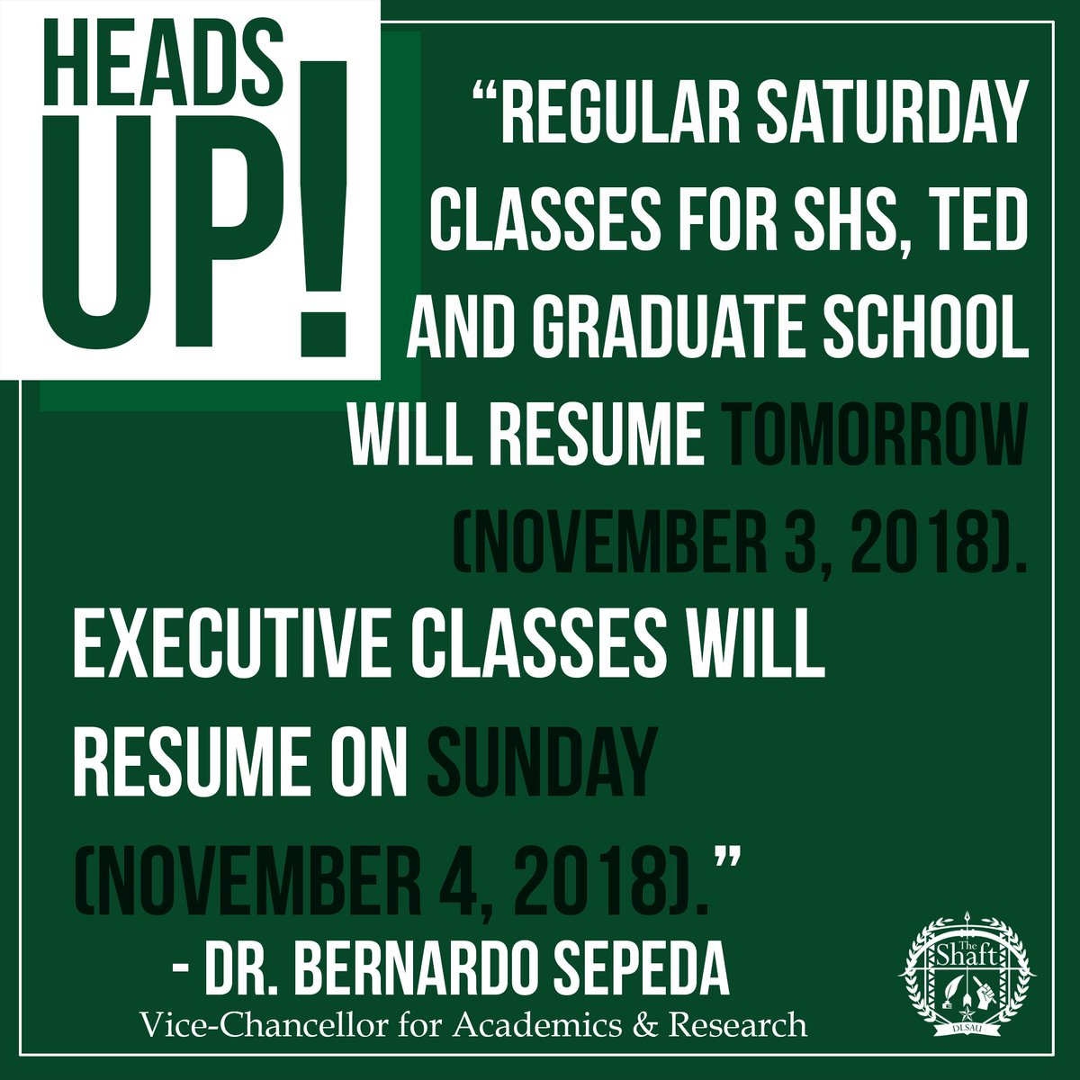 The Shaft Dlsau On Twitter Regular Saturday Classes For Shs Ted