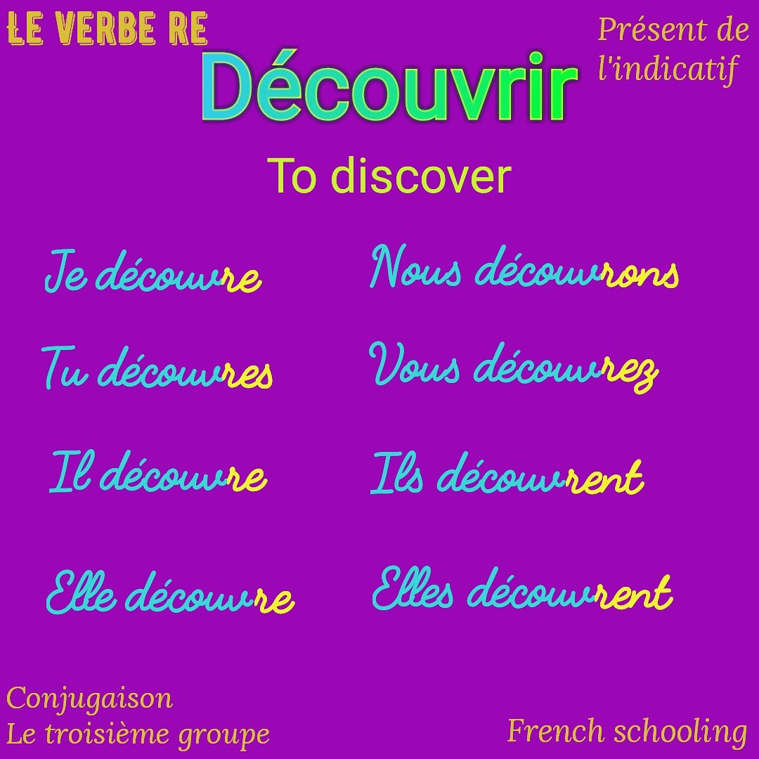 Frenchschooling On Twitter To Discover Decouvrir V Je I Tu You Il He Elle She Nous We Vous You Formal Ils Elles They France Francaise Frenchschool Frenchteacher Verbe Frenchschooling French Anglais Englishfrench