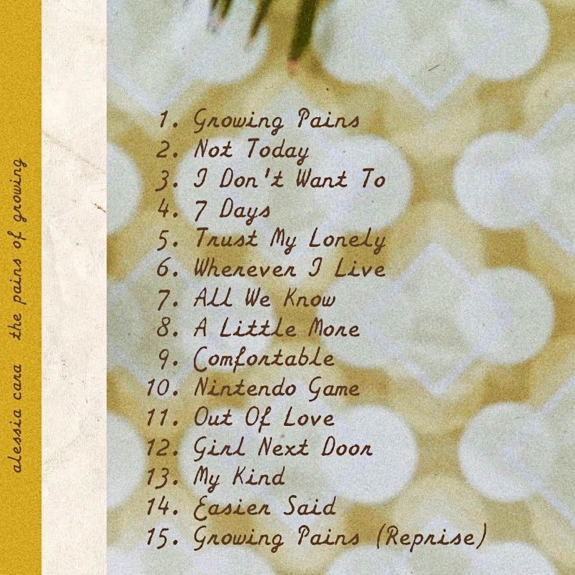 Image result for list of songs in the pains of growing