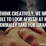 Image for the Tweet beginning: To think creatively, we must