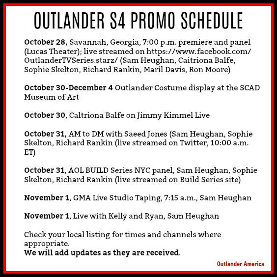 the rank and file on twitter updated outlander s4 premiere