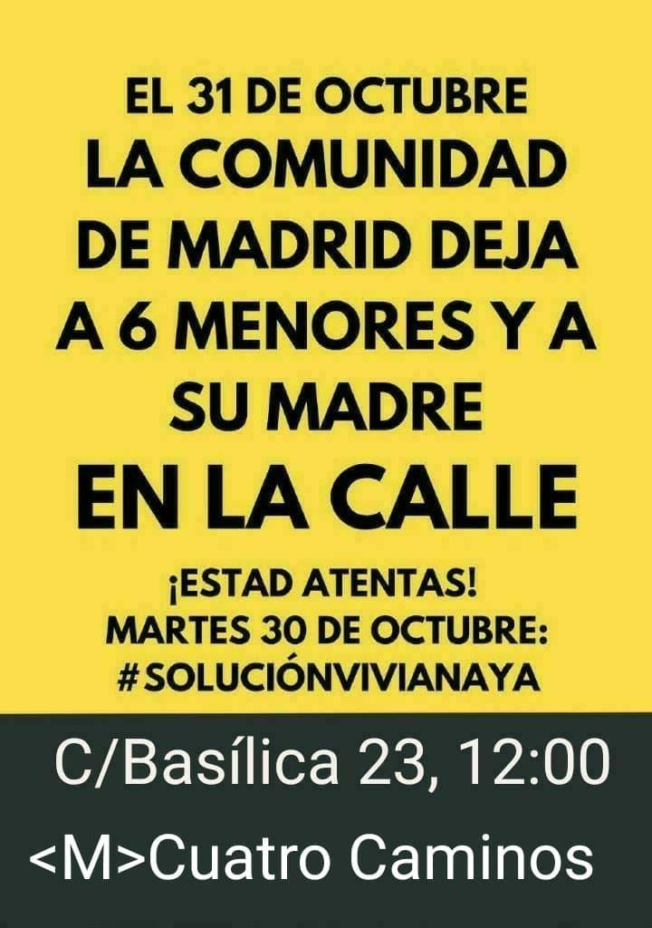 Asamblea Carabanchel On Twitter Solucionvivianaya Martes 30 De Octubre A Las 12h Ante La Agencia De Vivienda Social De Madrid En La Calle Basílica 23 M Cuatro Caminos Para Exigir Una Solución