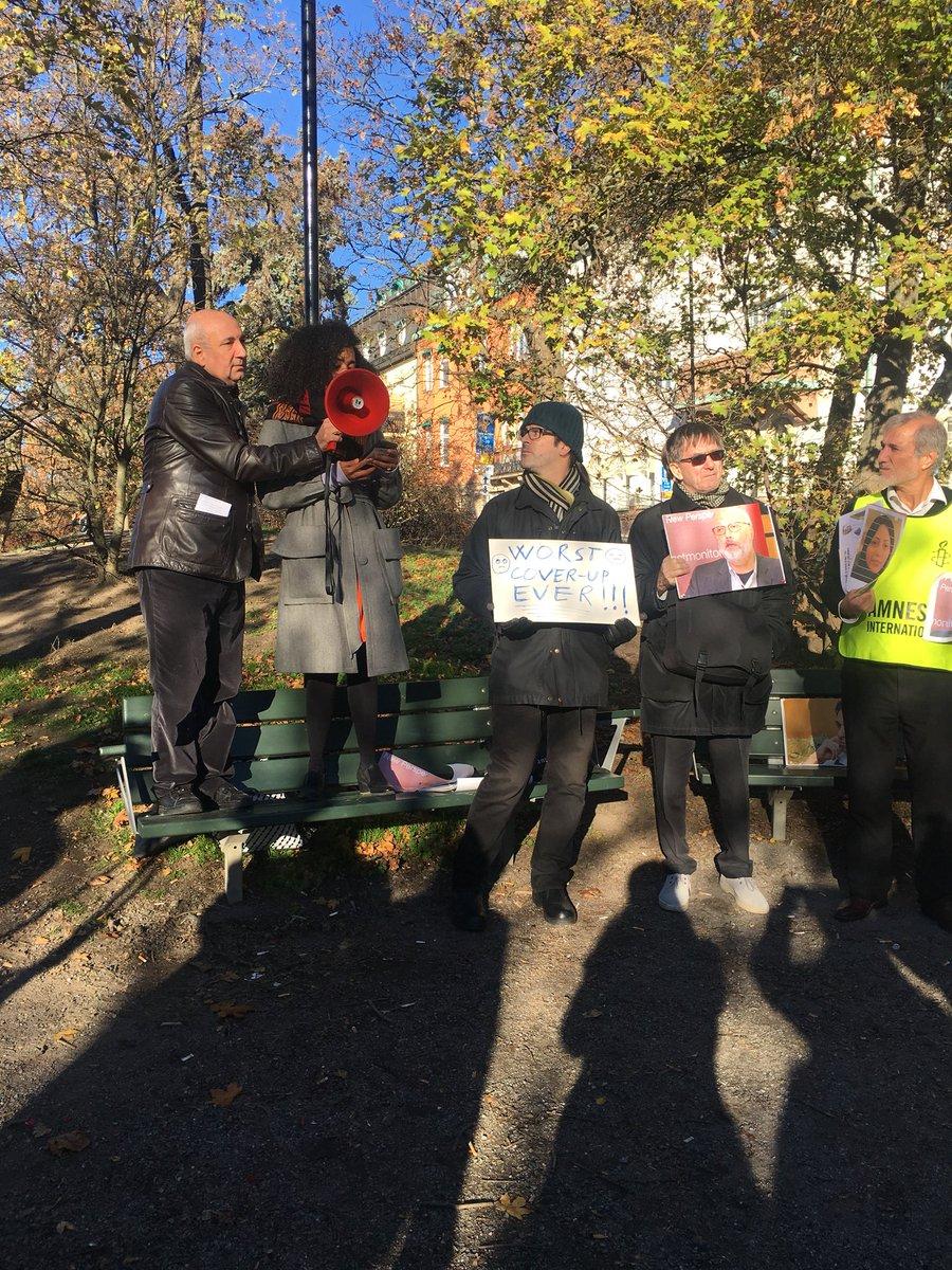 Today we protested near the Saudia Arabia embassy in Stockholm . #Khashoggi #JournalismIsNotACrime