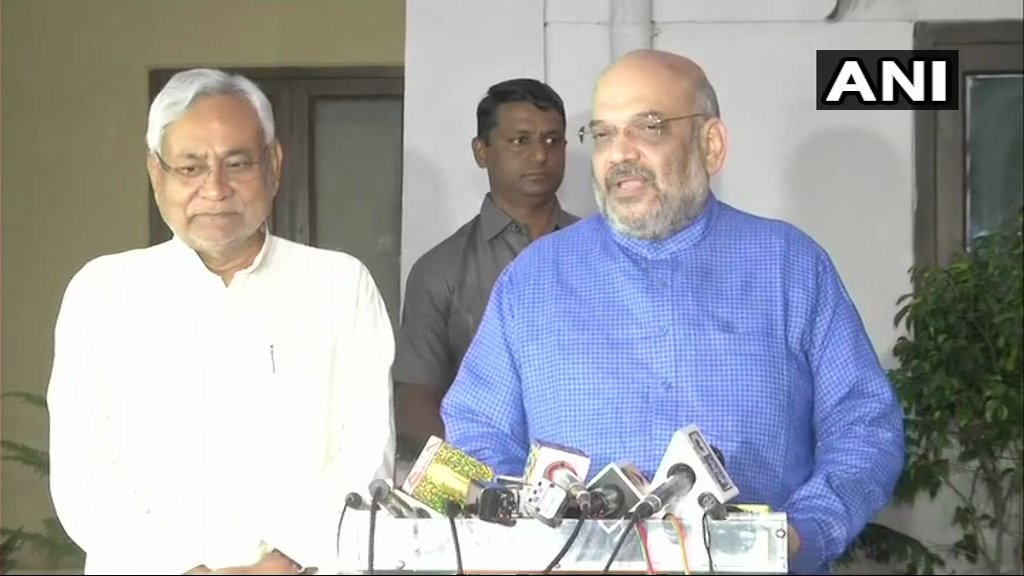 BJP, JD(U) to contest equal number of seats in Lok Sabha election in Bihar: Amit Shah with Nitish Kumar