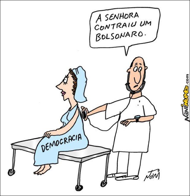 "Humor Político sur Twitter : ""Doença terminal por Nani #JairBolsonaro # autoritarismo #bolsonaro #cartoon #cartum #charge #Democracia  #doençabolsonaro #eleição #humor #tirinha #tira… https://t.co/WqRm0ZEzX1"""