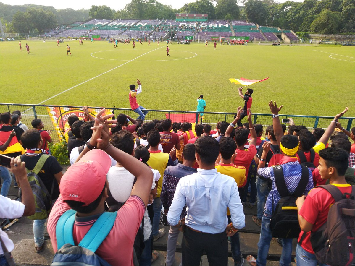 The gladness of East Bengal and the empty Mohun Bagan stand shows what is the match result is. Yes!!! They surrendered is front of Red & Gold brigade. Result is 2-0 for @eastbengalfc. 😍 #U18YL #ILeague #FuckOff #MBMKC #JoyEastBengal #IamEB