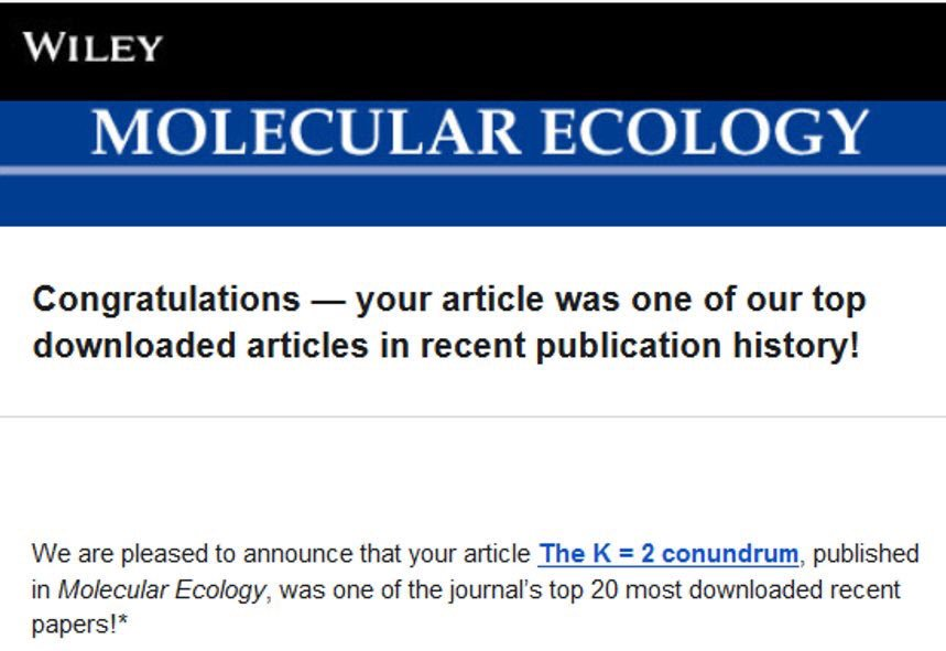 Banner commemorating that our paper was one of the 20 most downloaded papers in Molecular Ecology Between July 2016 and December 2018