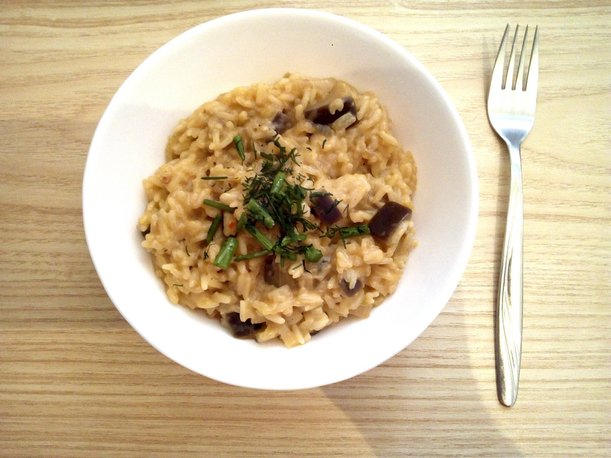 Risotto with Eggplant and Curry 😊 #rice #Food #eggplant #Curry https://t.co/upRPrUNFG1