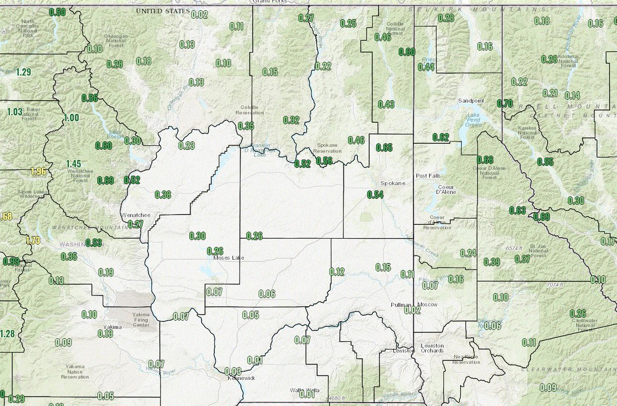 Spokane Wildfire Map.Nws Spokane On Twitter Here Is A Map Of 24 Hour Rainfall Totals As