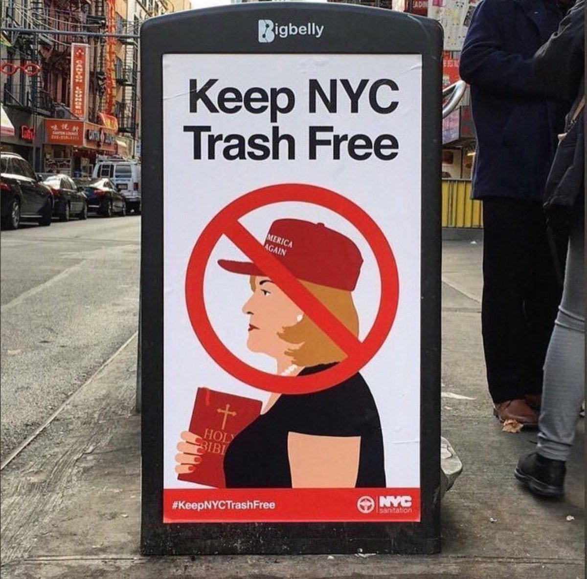 """NYC Sanitation on Twitter: """"These were not created or issued by the  Department of Sanitation and we do not condone unlawful defacement of City  litter baskets or public property. We are looking"""