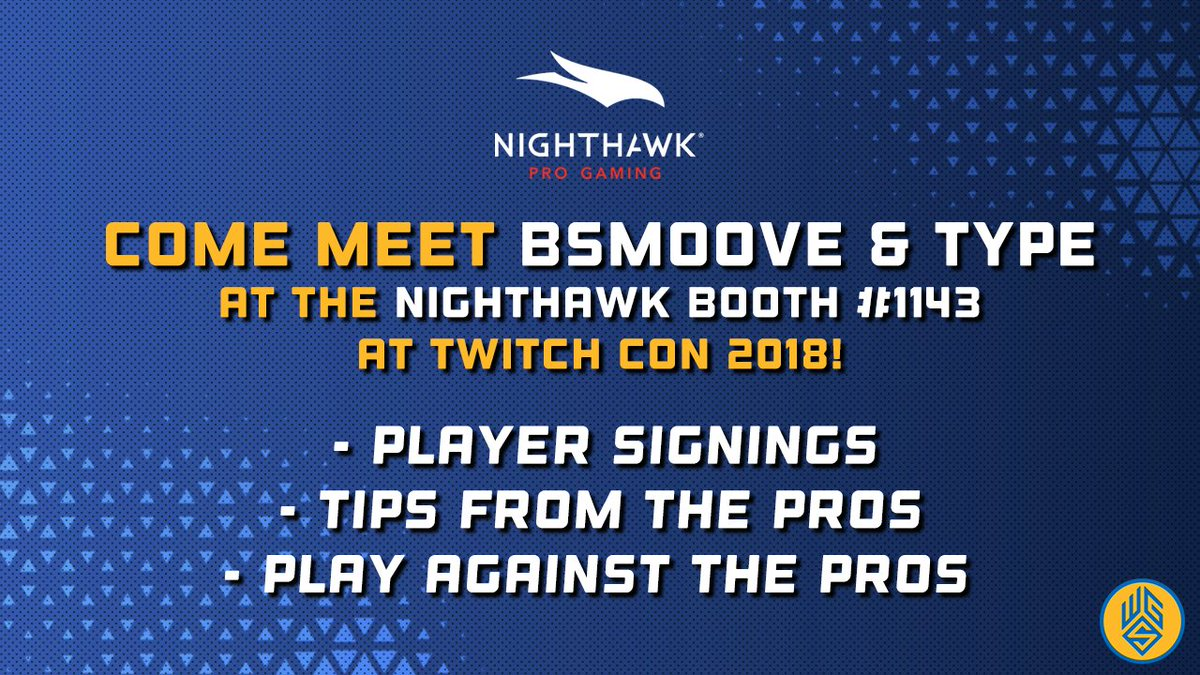 Missed @B_SM00VE_JAY and @ommtype signing earlier today? Dont worry, theyre back for round ✌️ at the @NETGEARgaming booth (#1143) at 2PM! #TwitchCon #TwitchCon18