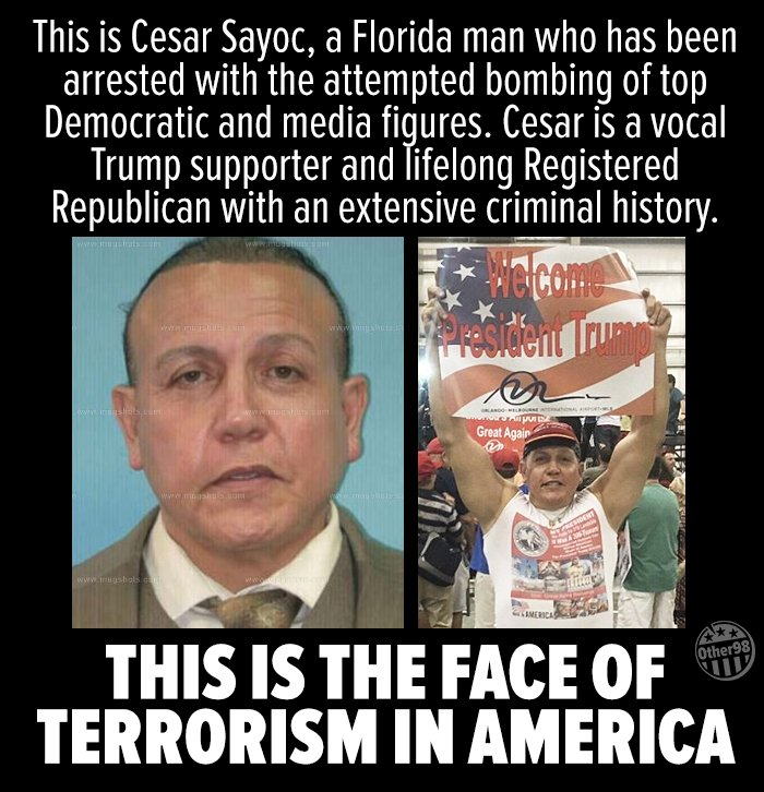 RT @other98: Is anyone surprised AT ALL that Cesar Sayoc, the #MAGABomber is a die hard Trump supporter? https://t.co/QYnnkPJUp2