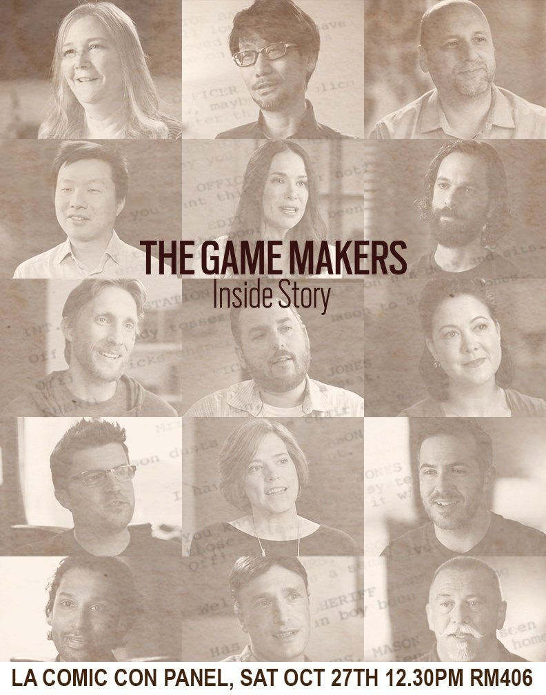 LA COMIC CON Gamers! Swing by tomorrow SAT OCT 27TH 12.30PM RM406 panel, as #THEGAMEMAKERS cast Brian Hastings @insomniacgames, Ian Dallas @giantsparrow, Kiki Wolfkill @halo, Matt Korba @TheOddGentlemen explore the craft of Storytelling In Games with director @jenniekong!