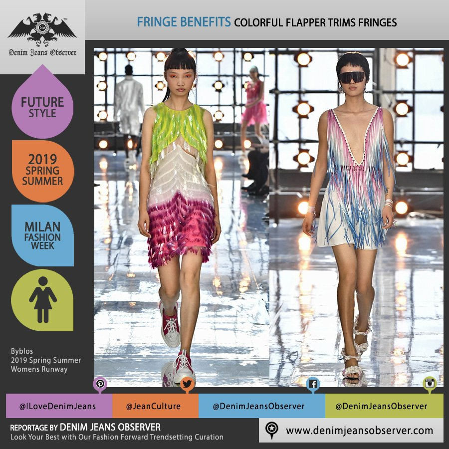 Byblos 2019 Spring Summer Womens Runway Catwalk Looks Collection - Milano Moda Donna Collezione Milan Fashion Week Italy - 1920s Twenties Speakeasy Flapper Fringes Dress Trims Colorful - Fashion Forward Trendsetting Curation by Denim Jeans Observer