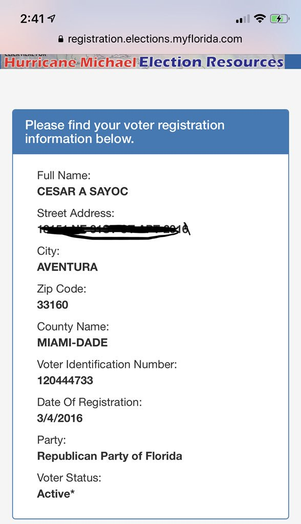 voter records florida by address