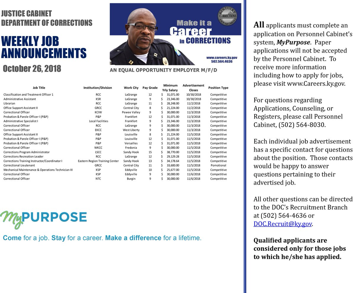 Kycorrections On Twitter Kydoc Weekly Job Announcements Apply