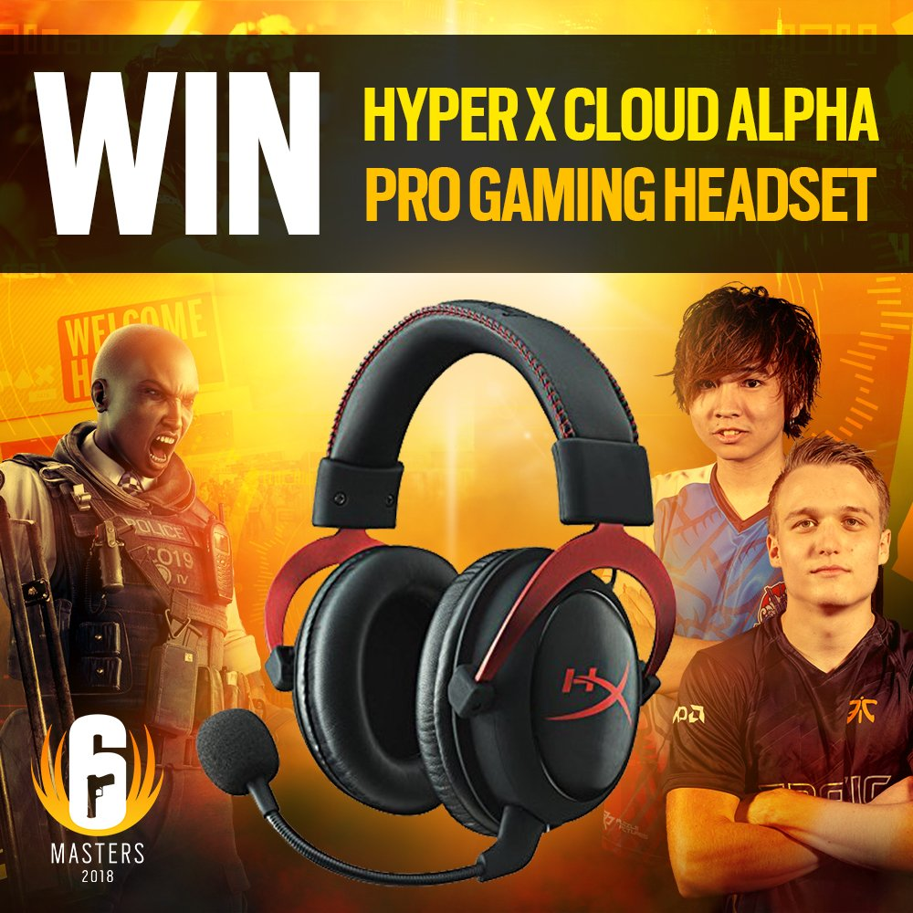 The #SixMasters2018 is LIVE NOW! 📺 http://twitch.tv/rainbow6anz   To celebrate, we're giving away 5x @HyperX Cloud Alpha Pro Gaming headsets! To enter simply: 1️⃣ LIKE this tweet 2️⃣ RETWEET this tweet 3️⃣ FOLLOW us (so we can DM the winners)