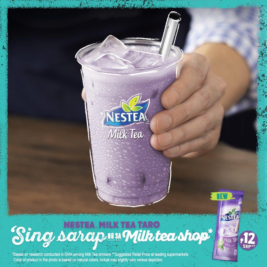 Ang sarap ng Taro, nasa #NESTEAMilkTea na! Try mo ito bes dahil 'Sing Sarap ng sa Milk Tea Shop pero P12 lang! Available sa supermarkets, convenient stores at Shopee. #TaroLets bili na! https://t.co/NyUGtSD01i