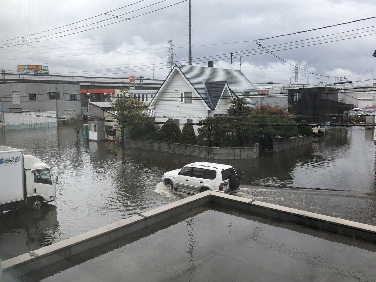 札幌市が大雨で冠水している画像
