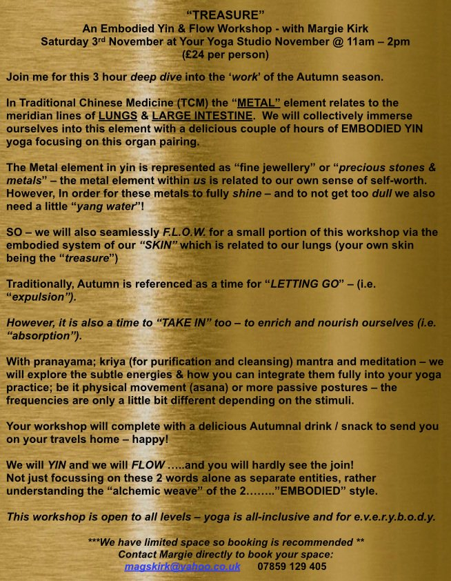 """our amazing Margie is hosting """"Treasure"""" an Embodied Flow workshop at Your Yoga Studios on Saturday, November 3rd from 11-2pm. Please read on and sign up to reserve your spot, this looks to be an amazing experience #youryogastudio #embodiedflow #workshop #tcm #yoga #liverpoolpic.twitter.com/5MD7CdD6XB"""