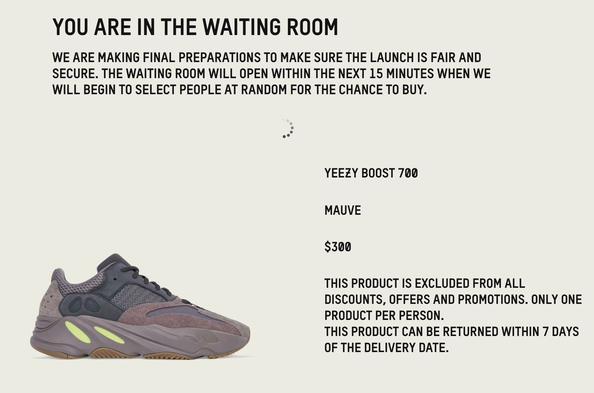 yeezy waiting room time