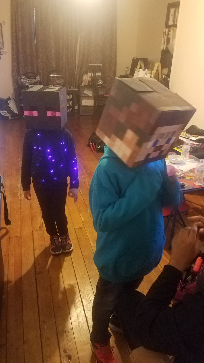 8bitx On Twitter So The8bitwife Grabbed An Epic Pic Of My Son Last Night As Herobrine When We Added A Flashlight To His Costume During Trickortreat His Sister Rocked The Epic Enderman