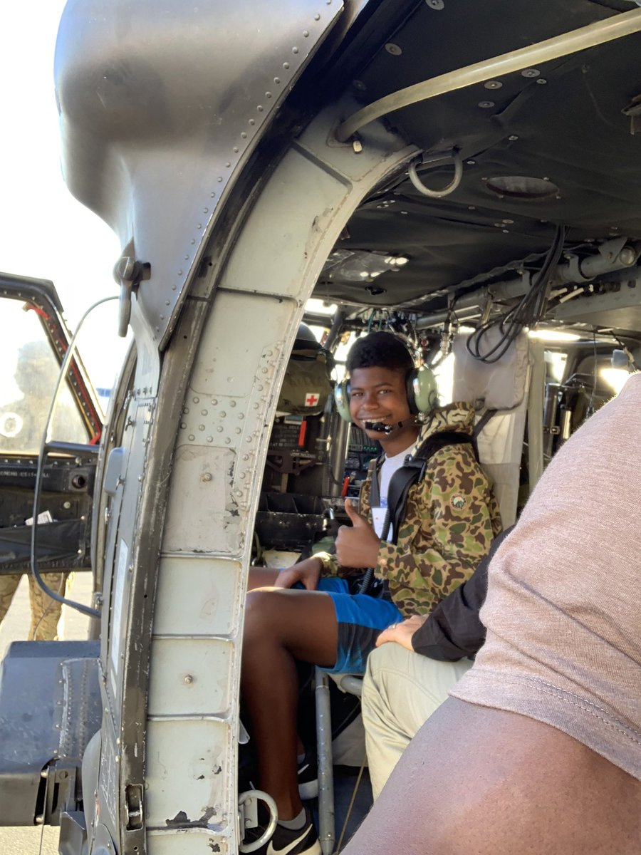 Isaiah and I in a Blackhawk helicopter! #ThankaVet #KnowYourMil  @NTC_UPDATE
