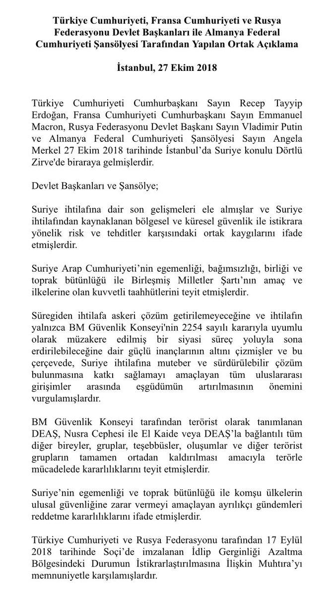 İstanbul'daki dörtlü zirvede Türkiye, Rusya, Almanya ve Fransa'dan ortak Suriye bildirisi geldi.