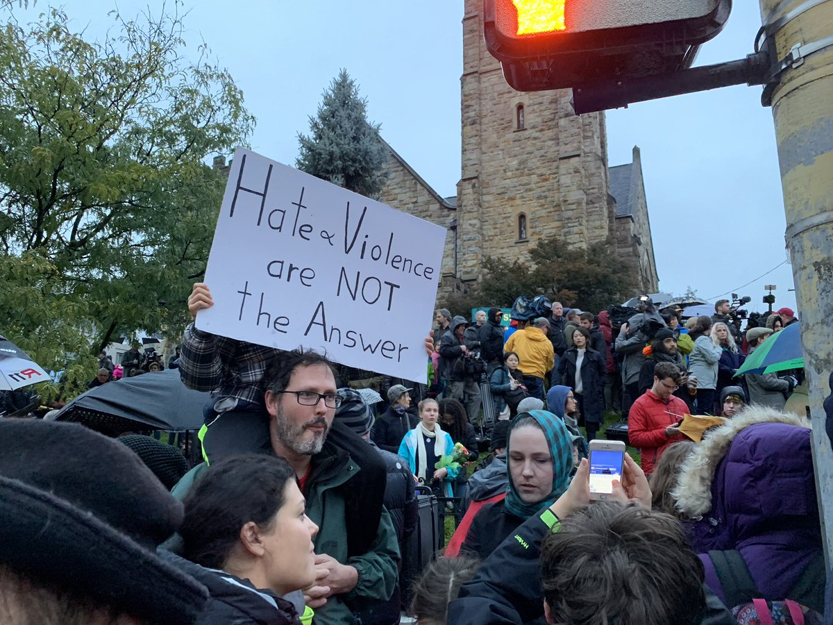 Scenes from the vigil at Forbes and Murray in Pittsburgh, following the Tree of Life Synagogue shooting.