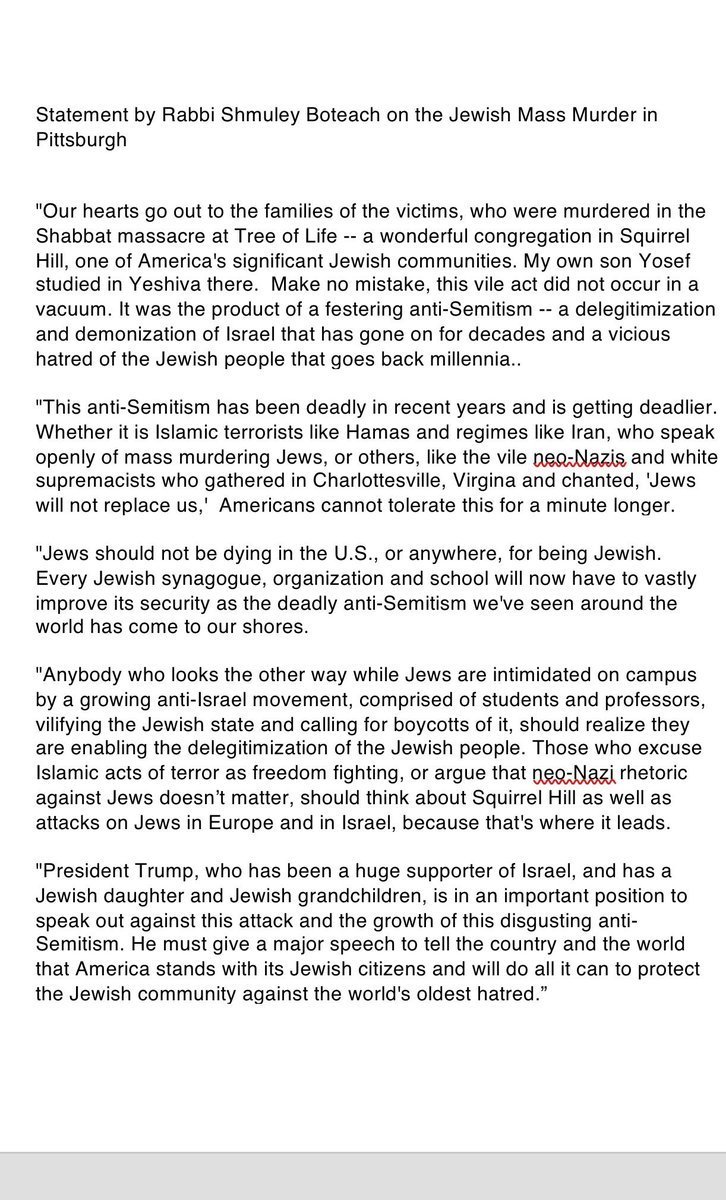 Statement by Rabbi Shmuley Boteach on the Jewish Mass Murder in Pittsburgh