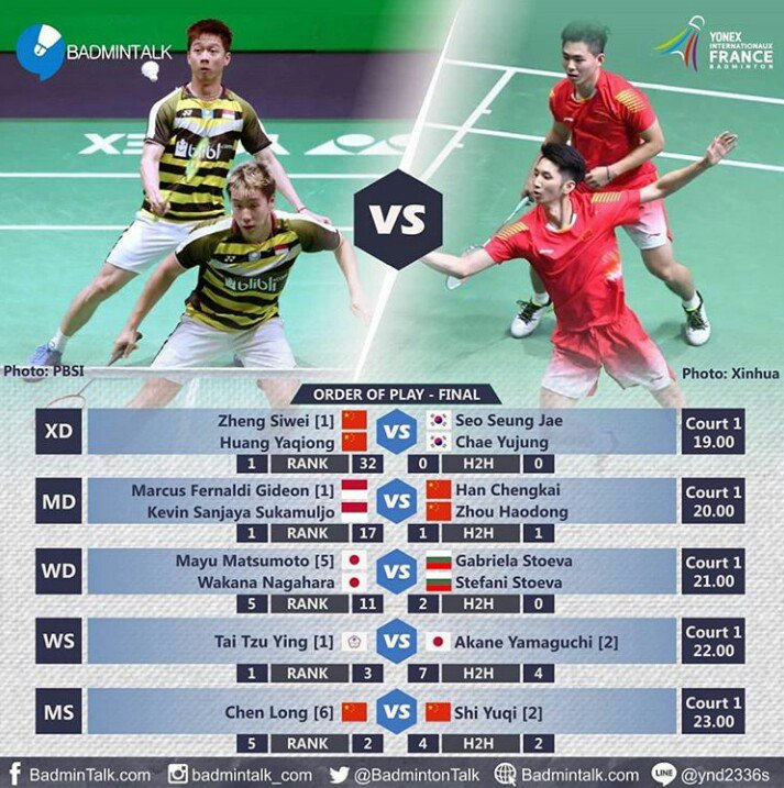 Jadwal The Minions di Final Perancis Open 2018🇮🇩🙌🙏