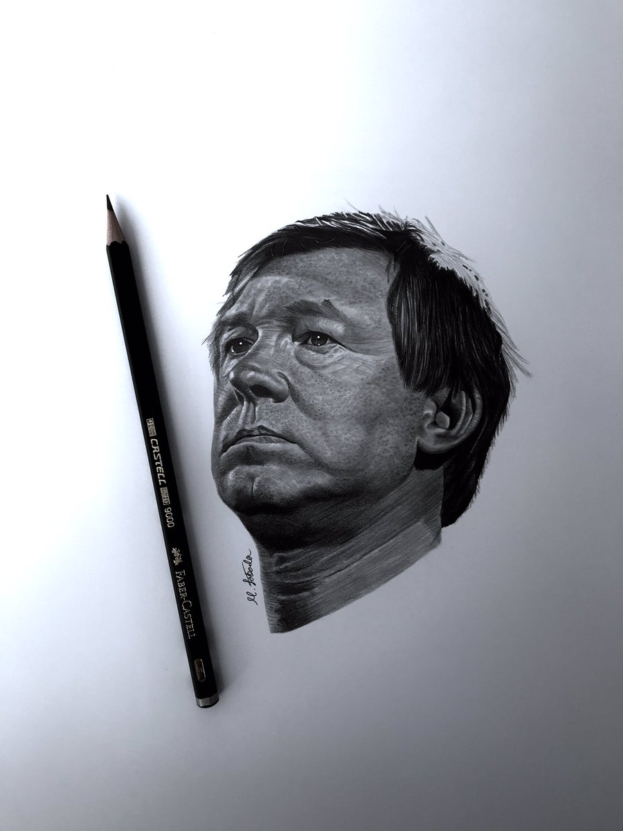 My finished portrait of the greatest manager of all time, Sir Alex Ferguson ✍🏼🙌🏼🙏🏼🐐