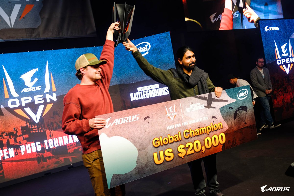 What an incredible finish! The Happy Campers are your #AorusOpen PUBG Grand Finals winners   Let's congratulate @CharityFPS and @Atom_PUBG for taking the trophy home for USA!<br>http://pic.twitter.com/8gEQ4rjnMK