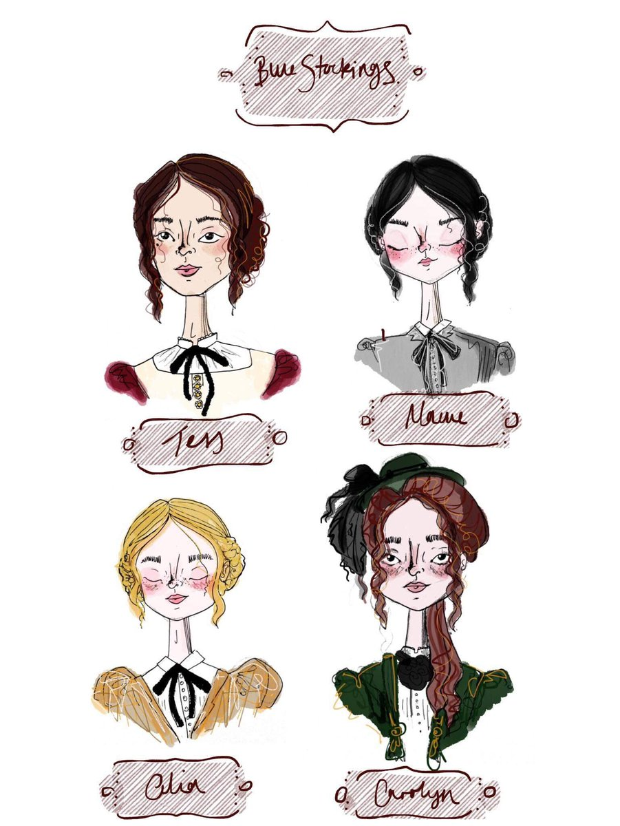 Blue Stockings opens  on Tuesday! Book here if you haven't already... …  In other news, take a look at this adorable drawing of our characters done by the talented @Natalie_Quarry...