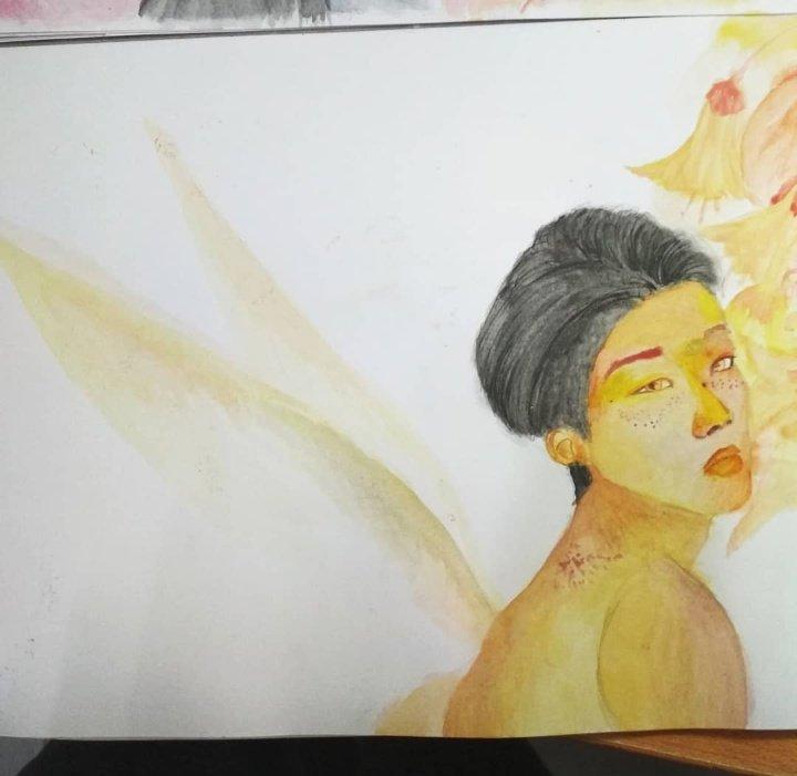 Fairy Byeongkwan! I had to. I gave him freckles too 😭  #fanart #acefanart #TMH #IFSL #watercolor #kimbyeongkwan #jason #bk #yungy #kimbyungkwan #toomanynames