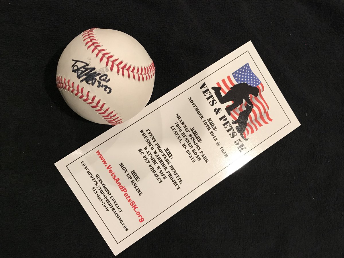Less than 2 weeks until the 2018 @VetsAndPets5K on 11/10/18 and could use some help spreading awareness in the KC area, to that end I'll be giving away this ball signed by @Duffman to a lucky resident who retweets this post.  Will chose a winner on 11/2/18.