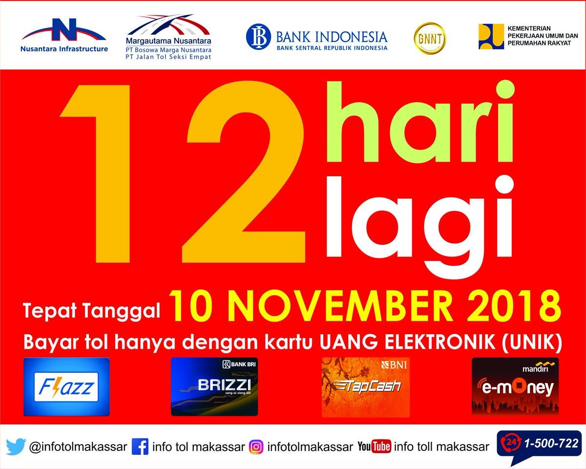 Info Tol Makassar Infotolmakassar Twitter Kartu Toll E Money Brizzi Saldo 0 100 Menggunakan Uang Elektronik Unik Dari Bca Flazz Mandiri Bni Tapcash Dan Bri Pastikan Anda Telah Beralih Sekarang