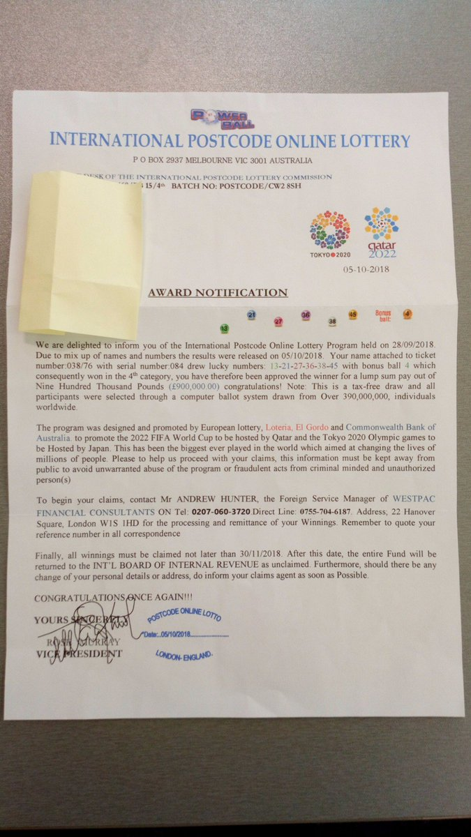 Crewe Police On Twitter Scam Alert Multiple Residents In Crewe Have Reported Receiving This Letter Through The Post Telling Them That They Have Won 900 000 On The International Postcode Lottery This Is