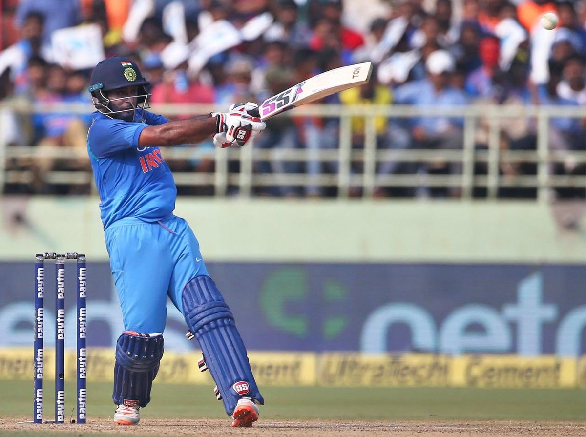 Crucial knock and a well deserved 100 for @RayuduAmbati #INDvWI