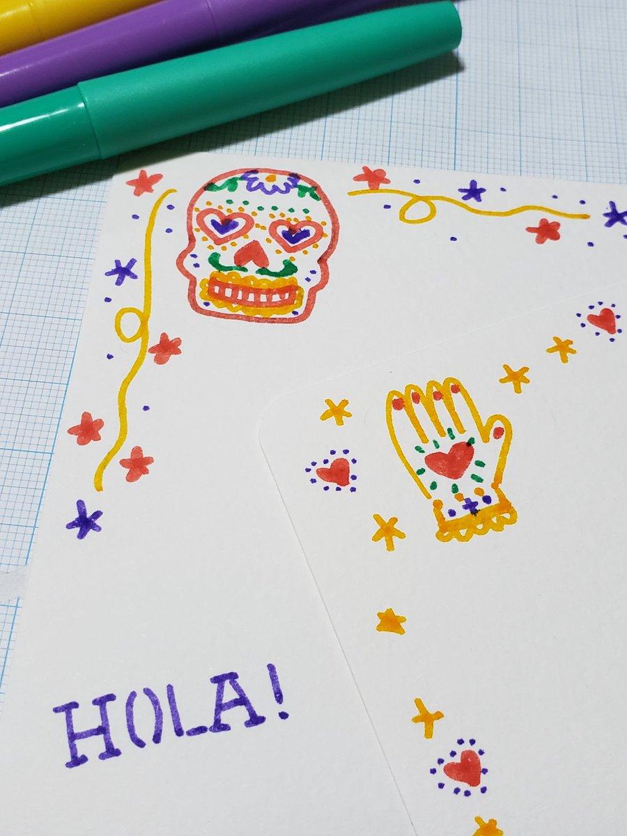 test ツイッターメディア - 懸賞なびのツイキャス『懸賞ちゃんねる』のイラスト講座で作ったメキシカンハロウィンデコはがきは、当選した方に届いたのかしら?楽しんで頂けたら幸いです。文具は全てダイソー。#ダイソー #メキシコ #ハロウィン https://t.co/Y8UPMQjiow