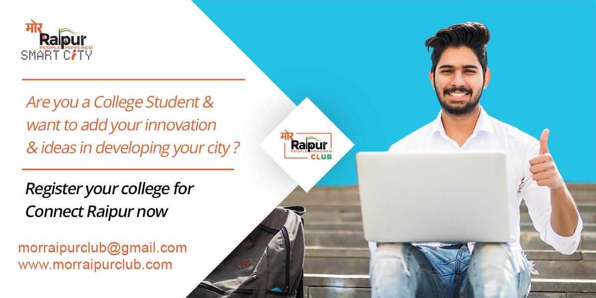 अपने अभिनव विचारों से रायपुर स्मार्ट सिटी के विकास में भागीदार बनने का शहर के युवाओं के लिए एक सुनहरा मौका। अपने कॉलेज का नाम दर्ज करने के लिए morraipurclub.com पर जाएं। #MorRaipur #ConnectRaipur #MondayMotivation #YouthsOfRaipur