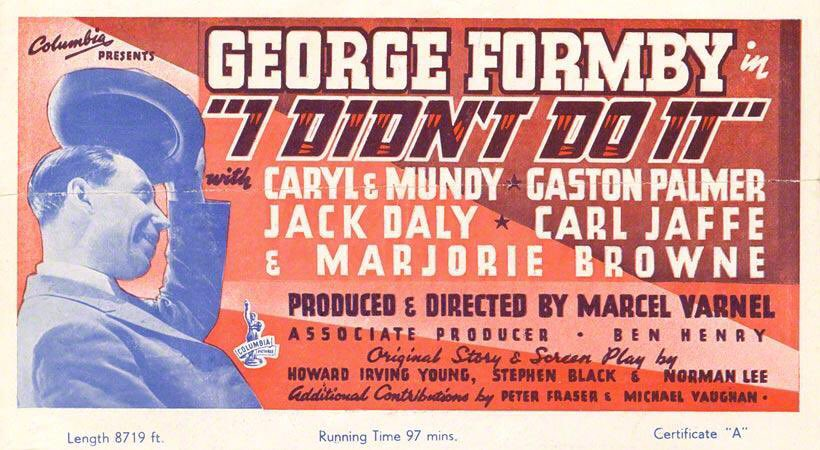 'You are charged with causing the season's biggest laugh...' @TalkingPicsTV keeps on delivering, with a channel premiere for this rarely-seen comic gem. #GeorgeFormby is back!  I Didn't Do It: 3:30pm this afternoon.  And Wally Patch is in it. In uniform. Result... <br>http://pic.twitter.com/KBQoWoxzrX