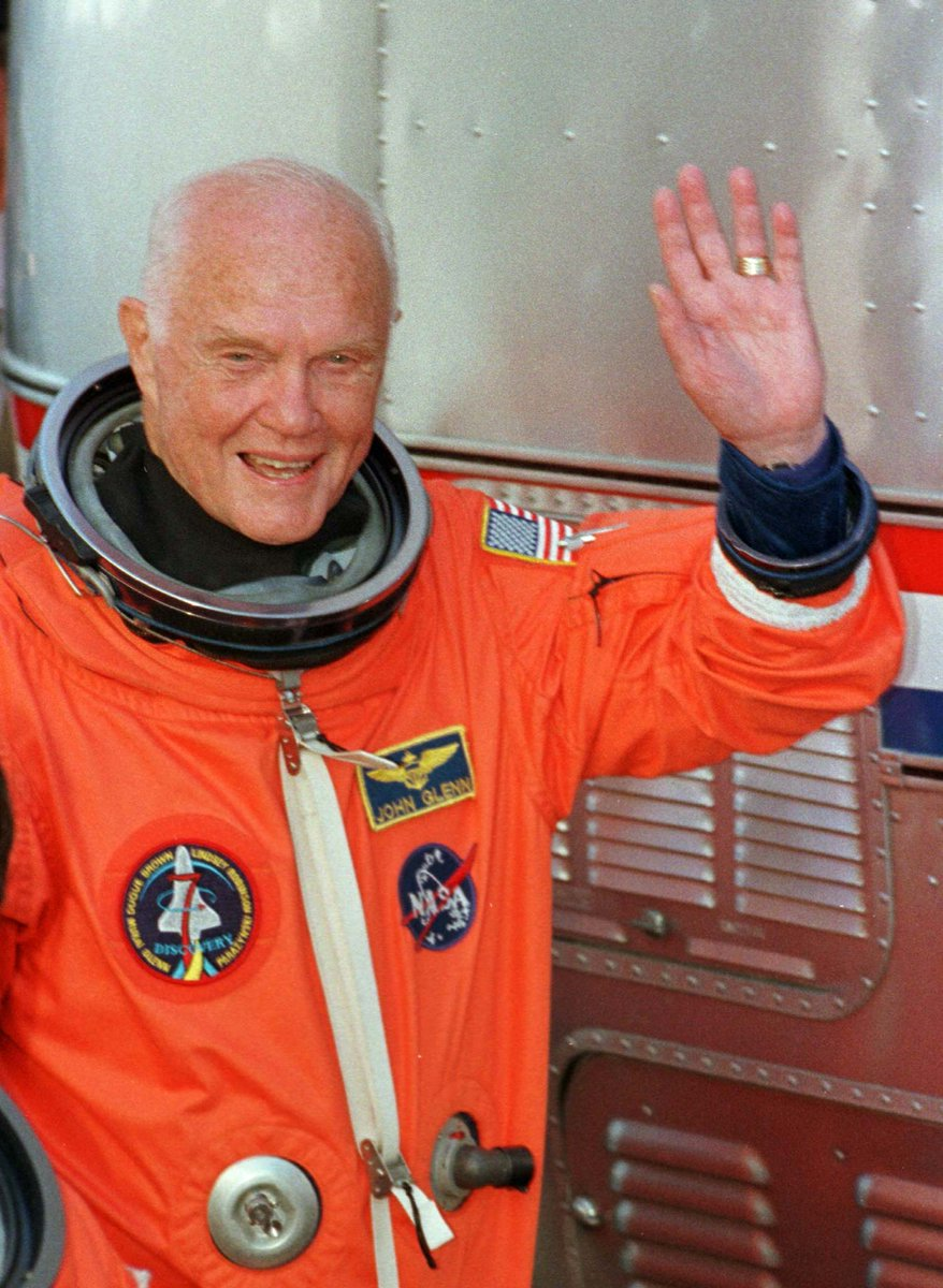 .@Reuters Today in History: 1998 - Astronaut #JohnGlenn, 77, becomes oldest person in space when he blasts off with crewmates on Space Shuttle Discovery. #ReutersArchive