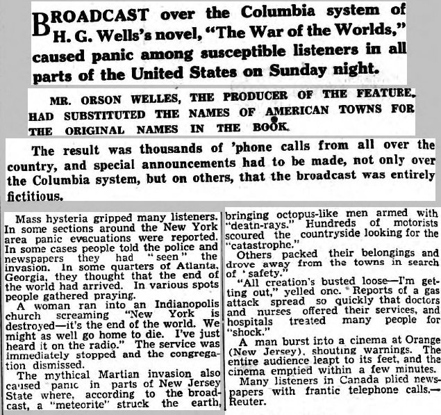 """.@Reuters Today in History: 1938 - Millions of Americans panicked when the radio play of the H G Wells book """"The War of the Worlds"""" was broadcast by Orson Welles. Many believed a Martian invasion of Earth was actually taking place. #ReutersArchive #Aliens"""