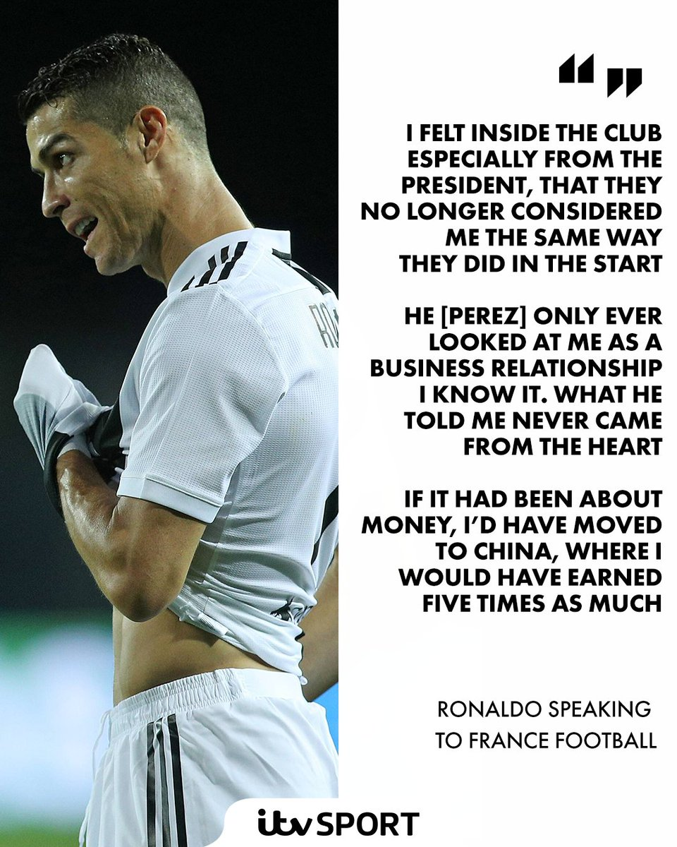 ⚪⚫ @Cristiano lifts the lid on the reason for his @realmadriden exit  #RMFC #Juve #CR7