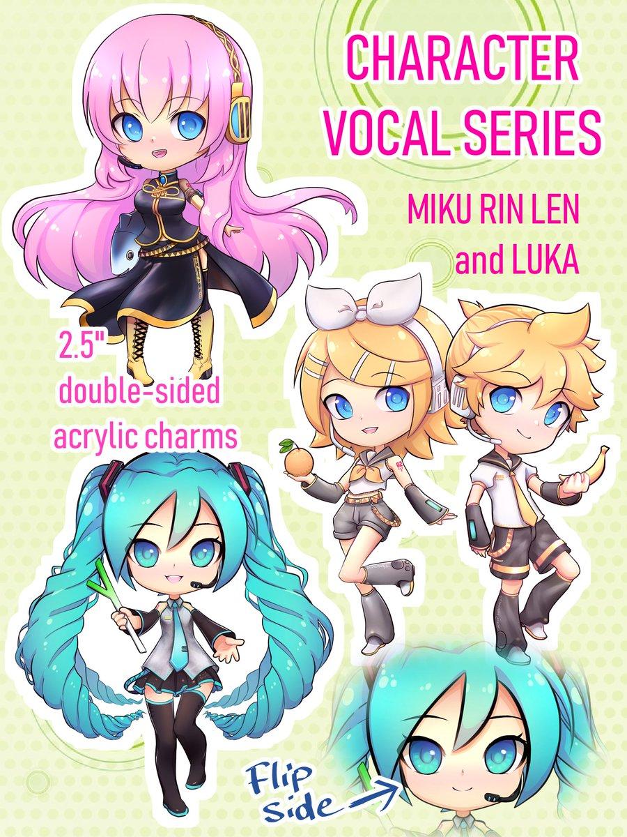 drew some vocaloid charms! here's miku, rin, len and luka! they're