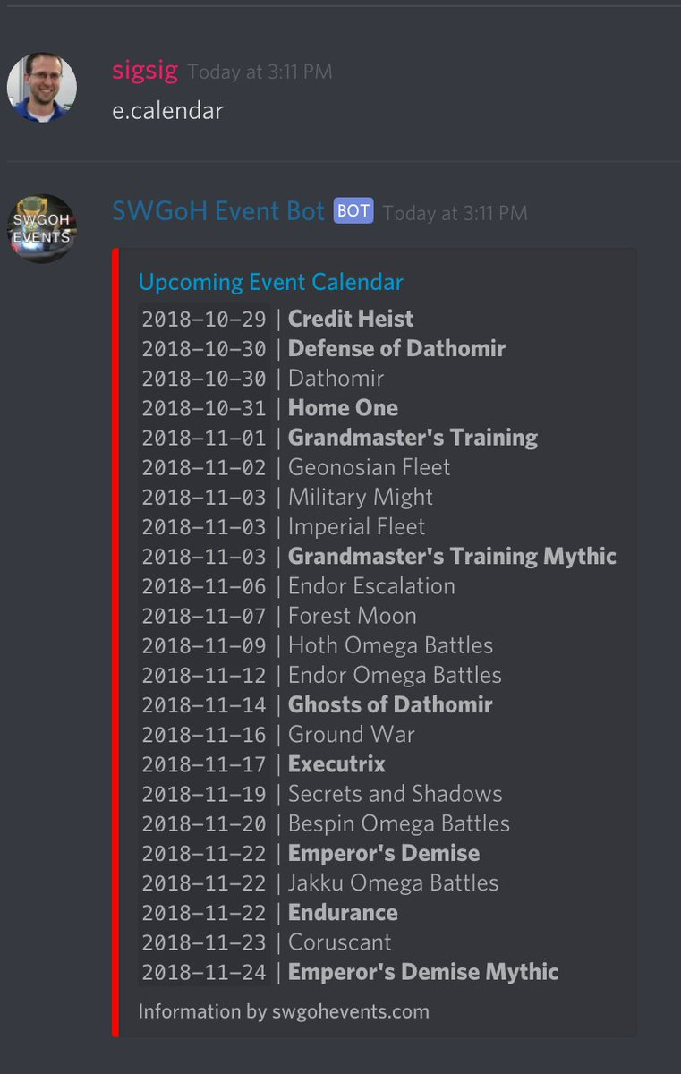 Swgoh Events Calendar.Swgoh Events On Twitter The November Calendar Is Ready To Go Swgoh