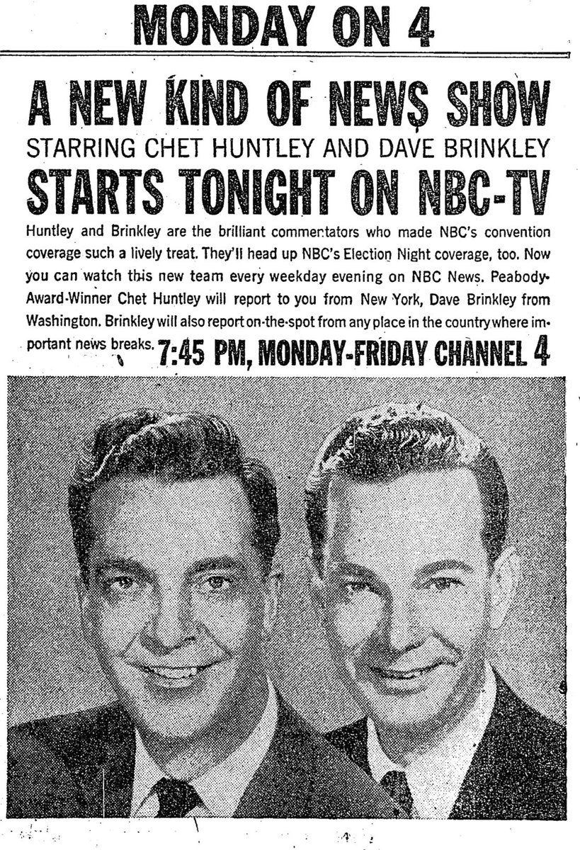"""RetroNewsNow on Twitter: """"DEBUT: 'The Huntley-Brinkley Report' premiered 62 years ago, October 29, 1956, on NBC… """""""